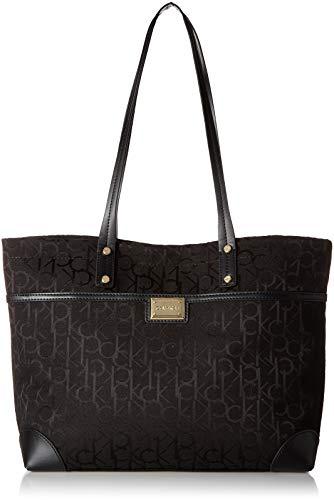 Calvin Klein Teodora Jacquard Front Zipper Pocket Tote, Black
