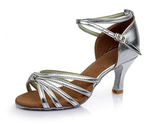 VESI-Zapatos de Baile Latino de Tacón Alto/Medio para Mujer Lazo de Plata 39