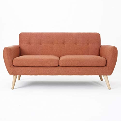 Christopher Knight Home Josephine Mid-Century Modern Petite Fabric Sofa, Burnt Orange Natural