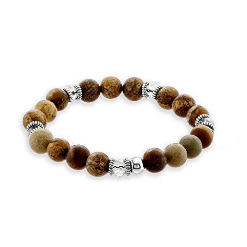 Believe London Chakra Bracelet Adjustable Anxiety Gemstone Crystal 7 Chakra Natural Stone Healing Men Women Stress Relief Reiki Yoga Diffuser Semi Precious Bead (Picture Jasper ()