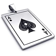 TEMEGO Jewelry Mens Stainless Steel Pendant Vintage Ace of Spades Card Poker Necklace, Black Silver