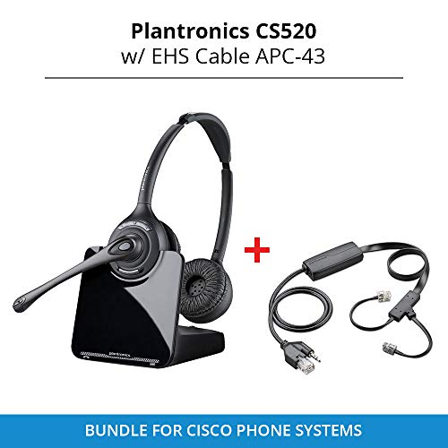 - Plantronics CS520 Binaural Wireless Headset System with EHS Cable APC-43, Bundle for Cisco Phone Systems