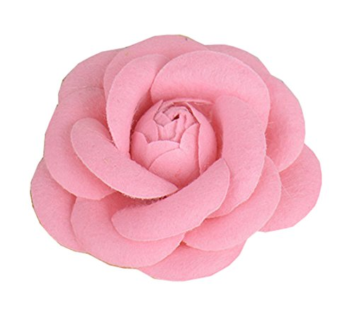 Love Sweety Ladies Girls Fabric Rose Flower Brooch Pin Hair Clips (Pink)