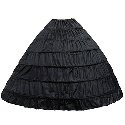 6-Hoops Hoop Skirt Crinoline Petticoat for Wedding Dress Crinoline Underskirt Ball Gown Petticoat for Women (Black)