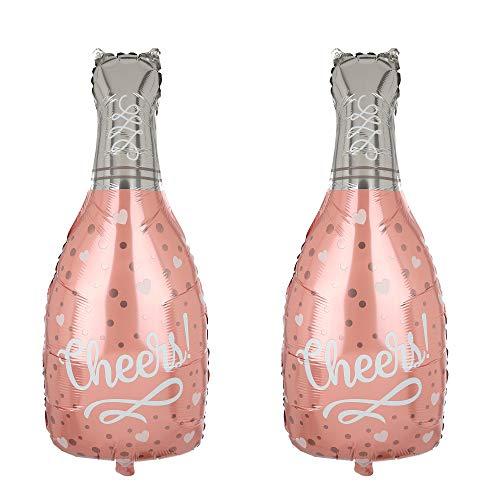 2 Pcs Champagne Bottle Mylar Foil Balloons Birthday Engagement Bachelorette Party Bridal Shower Wedding Celebration Anniversary Decor Rose Gold