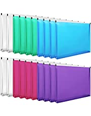 EOOUT 20pcs Poly Zip Envelopes Expandable Plastic Zipper Folders, Letter Size, Assorted Colors, for School and Office Supplies, 10 x 13 inches