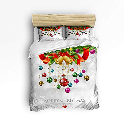 (YEHO Art Gallery Twin Size Cute 3 Piece Duvet Cover Sets for Boys Girls,Happy New Year Merry Christmas Plants with Jingling Bell,Decorative Bedding Set Include 1 Comforter Cover with 2 Pillow Cases)