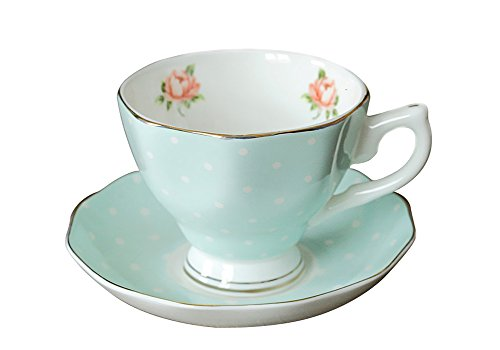 King Ma European Classical Porcelain Tea Cup and Saucer Coffee Cup Set (Green Polka Dot) for $<!--$12.99-->