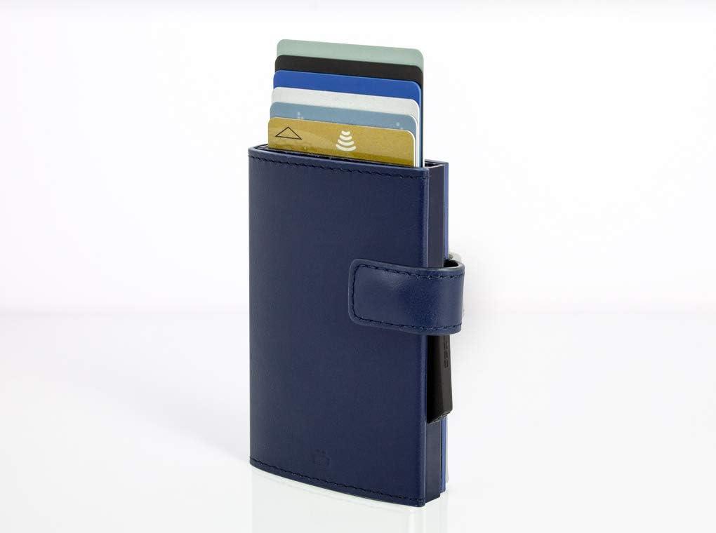 Notas Aluminio y Cuero /Ögon Smart Wallets Protecci/ón RFID: Protege Tus Tarjetas de Robar Recetas hasta 8 Tarjetas Azul Marino Cascade Wallet Snap Cartera Tarjetero