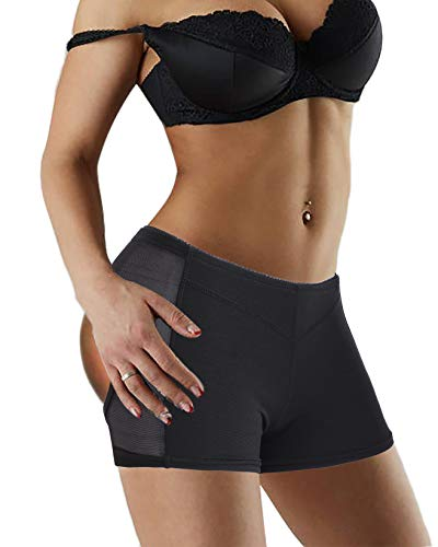 Nebility Women Butt Lifter Shapewear Seamless Body Shaper Panty Breathable Enhancer Short Briefs (XL, Black)