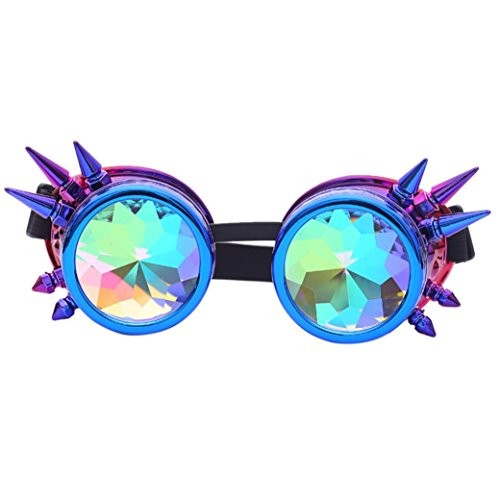TLoowy Steampunk Goggles, Rainbow Crystal Lens Rivet Kaleidoscope Glasses Sunglasses for Party Cosplay EDM Festival (Purple)