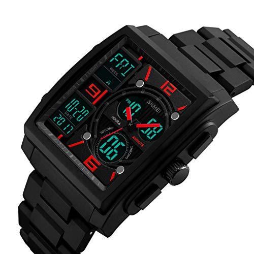 hahuha 👍👍 Hombres Militar Caucho táctico LED Digital Reloj Deportivo Impermeable Cuarzo analógico