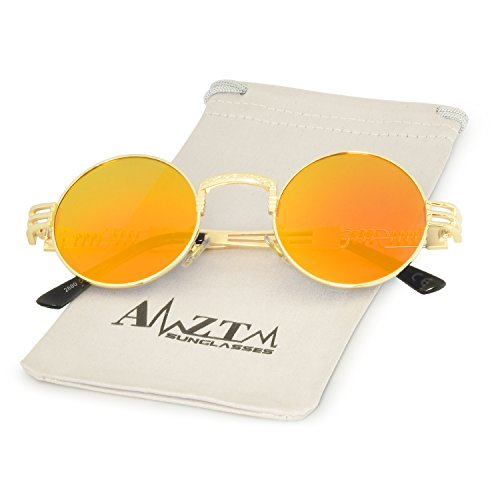 Steampunk Vendimia de Marco Gafas AMZTM Redondo Dorado Metal de Lente Naranja Gafas Sol de Rojo Marco XBSxqqw5