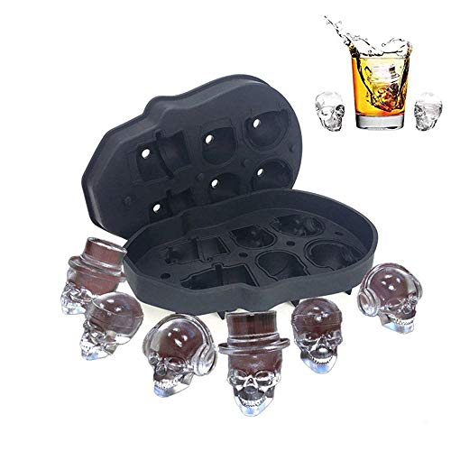 3D Skull Ice Mold, Easy to Fill 3d skull ice cube,BPA Free Silicone Skull Ice Cube Trays,6 Cavity, Black ()