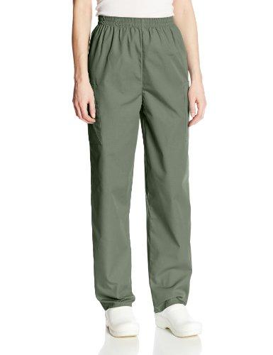 Cherokee Women's Workwear Elastic Waist Cargo Scrubs Pant, Olive, Large Petite