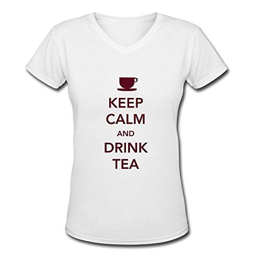 SUYUwomen's Keep Calm Drink Tea Cotton Round Collar T Shirt,M,white