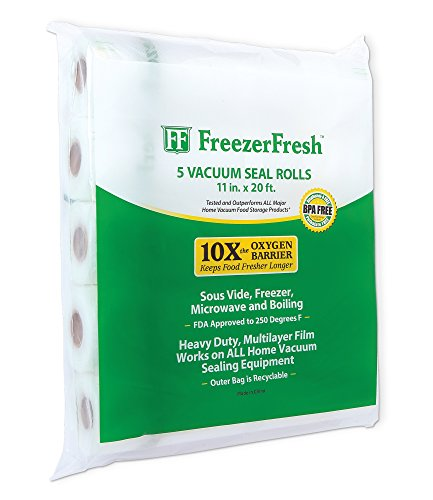 5 Pack - Freezer Fresh 11 x 20 Commercial Grade Vacuum Sealer Rolls. Food Storage Rolls Compatible with FoodSaver, Sous Vide and more