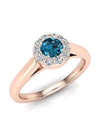 1/3 ctw Blue Diamond Halo Setting Promise Ring 14K Gold