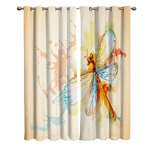 Cloud Dream Home Watercolor Dragonfly Painting Darkening Blackout Window Curtain Panels Colorful Insect Draperies Window Curtain 2 Pieces 52