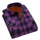 Soojun Men's Fleece Lined Plaid Thermal Flannel Shirt, M13, Large(US 42)