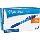 Paper Mate Profile Retractable Ballpoint Pens, Bold (1.4mm), Blue, 12 Count