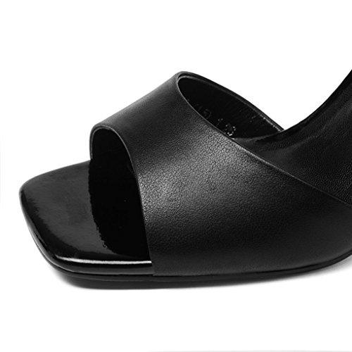 Alto Negro Alto Atractivas Las Dedo Abierto Sandalias de de Sandalias de del Tacón Mujeres del de Verano de Tacón Genuino pie Delgadas Cuero aZIx4qBwn