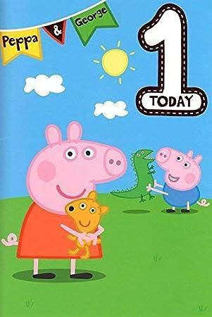 Peppa Pig AÑOS 1 Tarjeta Cumpleaños: Amazon.es: Juguetes y ...