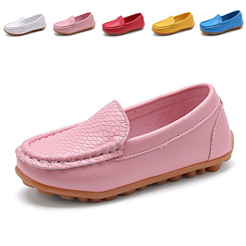 L-RUN Toddler/Little Kid Boys Girls Leather Slip on Sneakers with Rubber Sole Pink 1 M US Little Kid