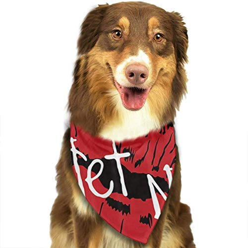 cross ctA Sexy Red Lip Prints On Black Background Dog Bandanas Washable Triangle Adjustable Dog Scarf -
