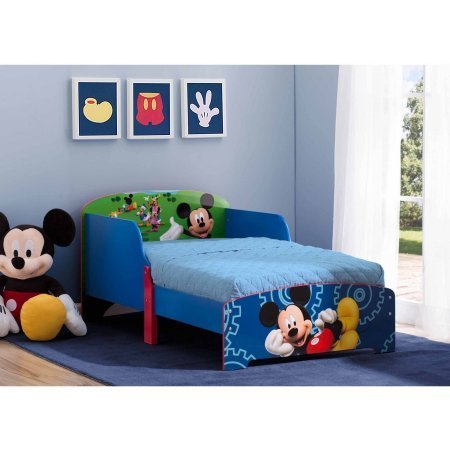 Disney Mickey Mouse Wood Toddler Bed, 30''W x 53.5''D x 25''H