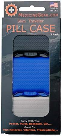 Vibrant Royal - Slim Traveler Pill Box - Small Pill case for Travel, Purse, Bag, Pocket (3 Pack, Jet Black, Royal Blue, Smokey Grey)