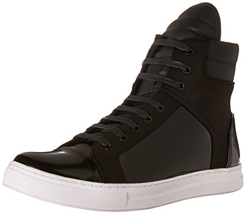 Kenneth Cole New York Mens Black Patent Leather Double Header Patent And Neoprene Sneaker 10 M US