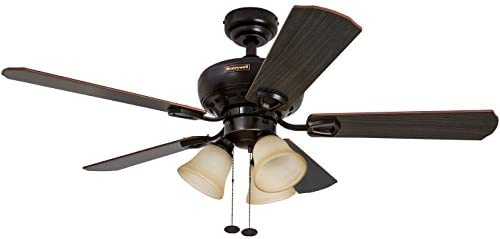 Honeywell Springhill 44-Inch Ceiling Fan with 3 Sunset Shade Lights, Five Reversible Cimarron Ironwood Blades, Oil-Rubbed Bronze