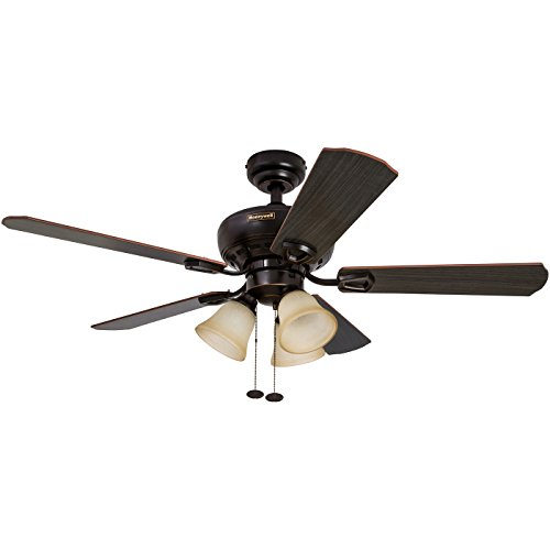 Honeywell Springhill 44-Inch Ceiling Fan with 3 Sunset Shade Lights, Five Reversible Cimarron/Ironwood Blades, Oil-Rubbed Bronze