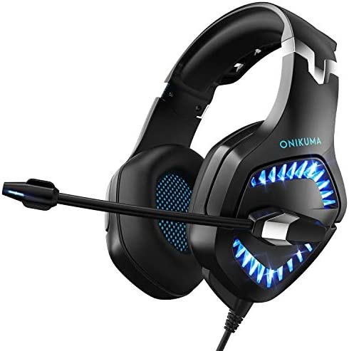 Stereo Gaming Headset, DIOWING, Upgraded 7.1 Bass Surround Sound Over Ear Headphones with Mic for PS4, PC, Xbox One Controller, LED Light, Soft Memory Earmuffs for Laptop Mac Nintendo Switch Games