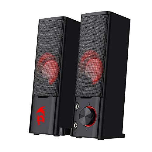 Redragon GS550 Orpheus PC Gaming Speakers, 2.0 Channel Stereo Desktop Computer Sound Bar with Compact Maneuverable Size, Quality Bass and Decent Red Backlit, USB Powered w/ 3.5mm Cables