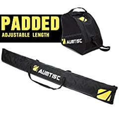 Brand: Aumtisc Aumtisc Padded Ski and Boot Bag Combo .The ski sleeve fits most skis up to 200 cm, and the boot bag will accommodate most ski boots up to size 13.The double compression straps PLUS the unique roll-top design lets you cus...