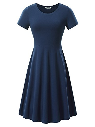 HUHOT Women Short Sleeve Round Neck Summer Casual Flared Midi Dress (X-Large, Navy)
