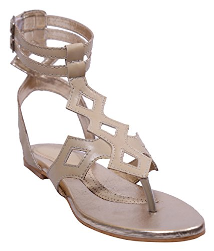 John Sparrow Mujer Casual tobillo Strap plana sandalia verano calzado - tamaño disponible Beige