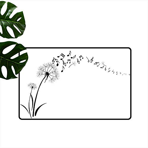 (Music Decor,Carpets Doormat Flying Dandelions with Note Music Summer Meadow Silhouette Softness Simple Home Decoration Door Mats W 31