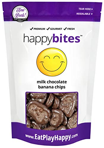 - Happy Bites Milk Chocolate Covered Banana Chips - Resealable Pouch Bag (12)