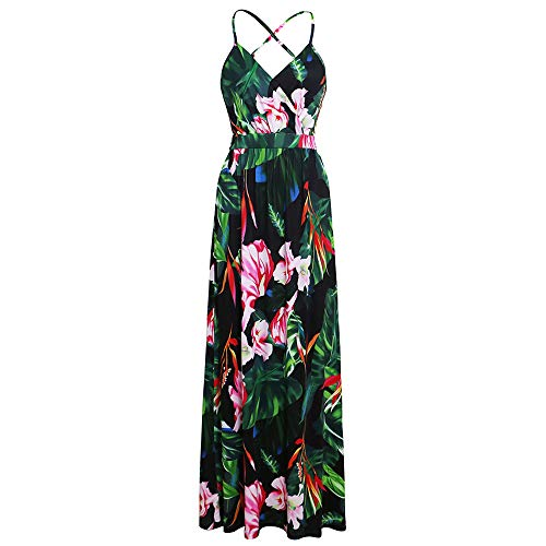 - Floral Long Dress for Women,SMALLE◕‿◕ Women's Sleeveless Halter Neck Swning Maxi Dress Backless Beach Dress Green