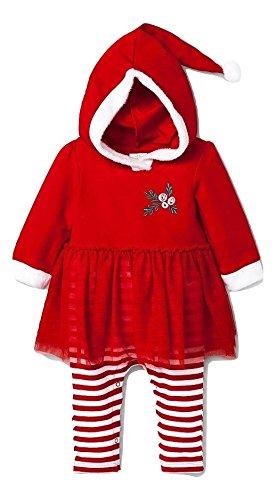 Baby Girls' Red Santa Romper With Hood - Cat & Jack - 0-3 (Target Cat Costume)