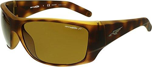 Arnette Men's Heist 2.0 0AN4215 Polarized Rectangular Sunglasses, FUZZY HAVANA, 66 - Mens Sunglasses Arnette