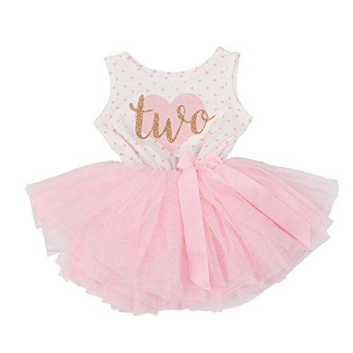 (Grace & Lucille Pink Polka Dot Sleeveless Toddler Birthday Dress (Flat Heart Gold, 2t))