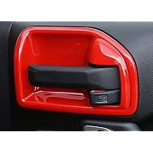 u-Box Red Door Handle Recess Guard / Door Entry Guard for 2011 - 2016 Jeep Wrangler 2-Door - Set
