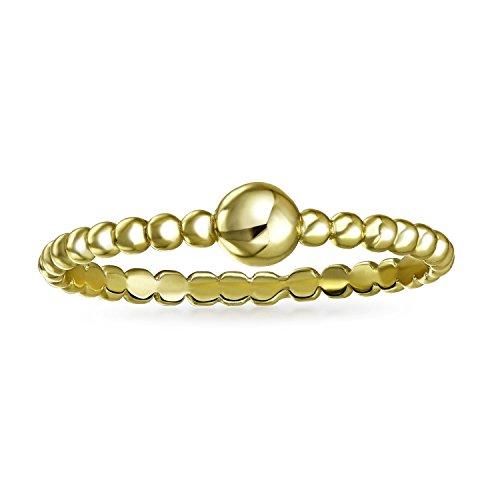 Bling Jewelry Chapado en oro 925cuentas de cristal de plata de ley moderno anillo de Midi