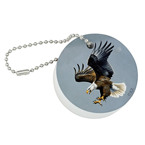Eagle Bald Keychain (Graphics and More Screaming Bald Eagle Diving Catching Prey Round Floating Foam Fishing Boat Buoy Key Float Keychain)
