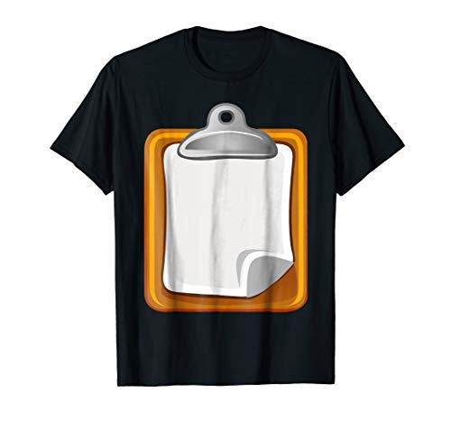 Clipboard with Sheet Of Paper Funny Halloween Costume Shirt ()
