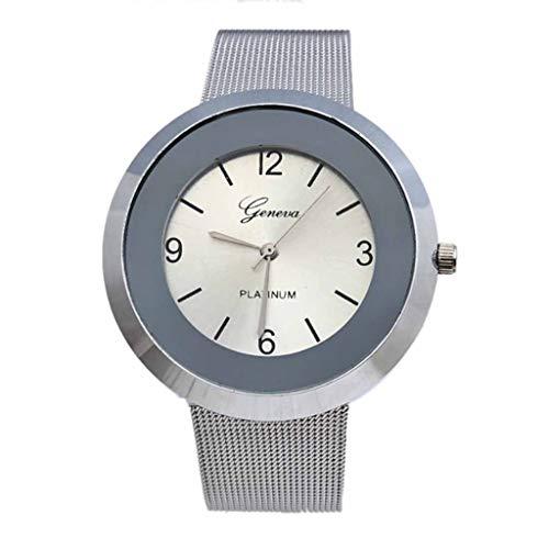 TADAMI Fashion Stainless Steel Analogue Quartz Simplicity Ladies Elegant Watches Dial Simulated Women Wrist Watches Bracelet Business Wristwatch (White)